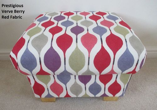 Storage Footstool in Prestigious Verve Red Berry Fabric Pouffe Footstall British Made Retro Purple