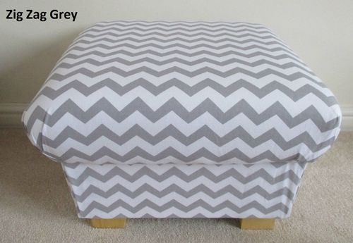 Storage Footstool Grey White Zig Zag Fabric Pouffe Footstall British Made Accent Nursery Bedroom