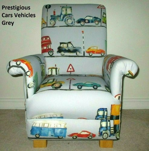 Prestigious Grey Cars Fabric Child's Chair Vehicles Kids Armchair Bus Tractors Vans Diggers Blue