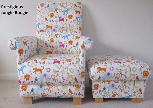 Jungle Boogie Fabric Adult Chair & Footstool Armchair Pouffe Animals Safari Nursery Bedroom Lions