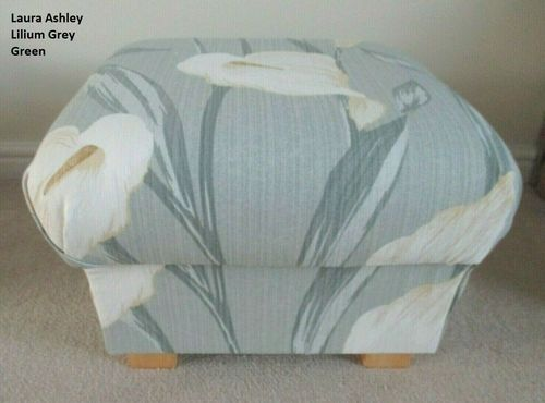 Laura Ashley Lilium Grey Green Fabric Storage Footstool Pouffe Lilies Footstall Floral