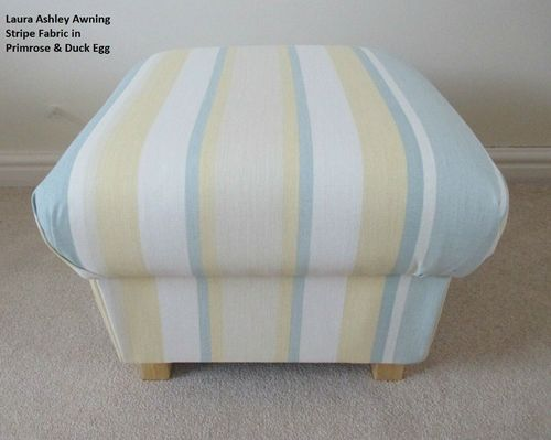 Storage Footstool Laura Ashley Primrose & Duck Egg Fabric Footstall Pouffe Striped Yellow Green