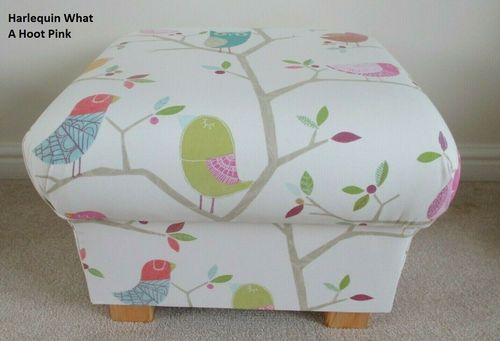 Storage Footstool Harlequin What A Hoot Pink Fabric Footstall Pouffe Owls Nursery Birds
