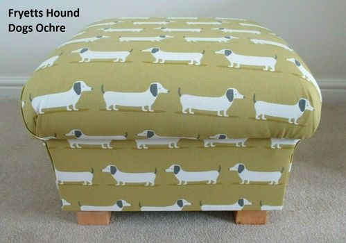 Storage Footstool Fryetts Hound Dogs Ochre Mustard Footstall Pouffe Dachshunds Yellow