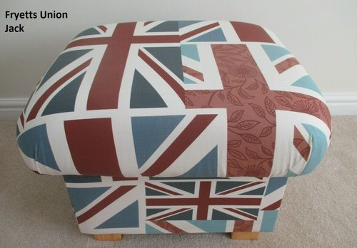 Storage Footstool Fryetts Union Jack Fabric Footstall Pouffe British Flag Accent Red White Blue
