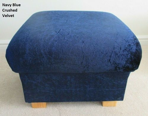 Storage Footstool Navy Blue Crushed Velvet Fabric Footstall Pouffe Nursery
