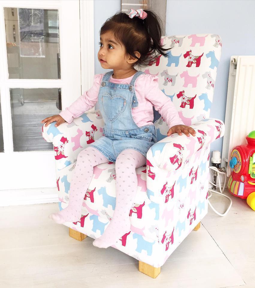 Kids Chair Navy Blue Crushed Velvet Fabric Children's ...