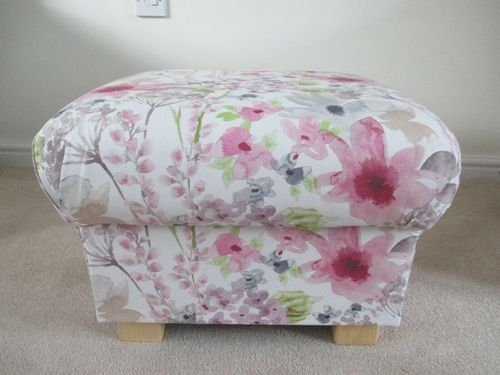 Storage Footstool Fryetts Felicity Pink Fabric Floral Pouffe Footstall Flowers Accent Pretty Bespoke