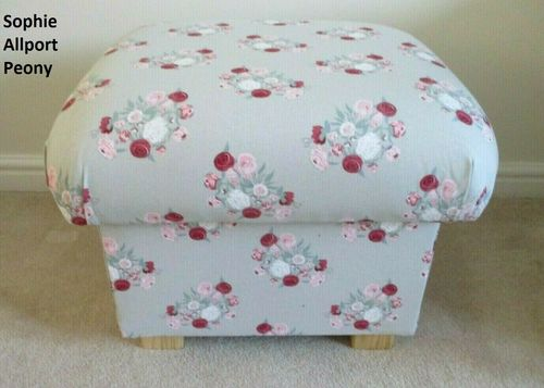 Storage Footstool Sophie Allport Peony Fabric Footstall Pouffe Floral Pink Grey Accent