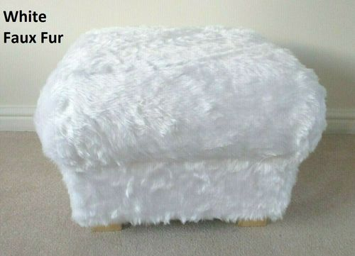 White Faux Fur Fabric Footstool Pouffe Furry Footstall Statements Accent Teddy Bear