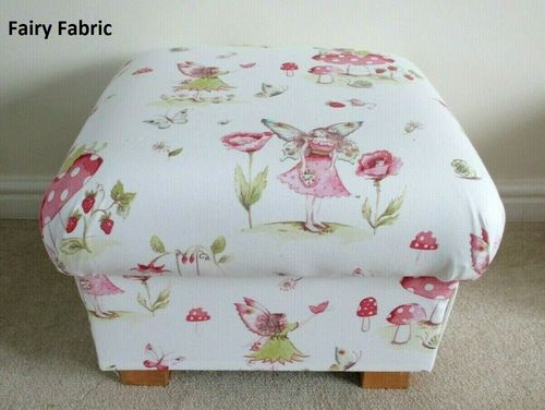 iLiv Fairy Fabric Footstool Pink Floral Footstall Pouffe Flowers Accent Bedroom Lounge