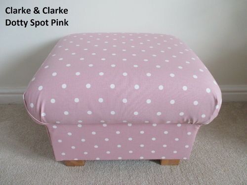 Clarke Pink Dotty Spot Footstool Polka Dots Footstall Pouffe Nursery White Spotty