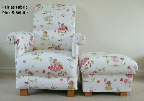 Pink Fairy Fabric Adult Chair & Footstool Armchair White Fairies Nursery Bedroom