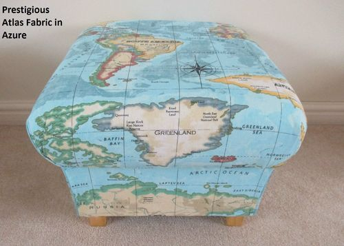 Prestigious Atlas Azure Fabric Footstool Globe Blue Pouffe Countries World Map Nursery