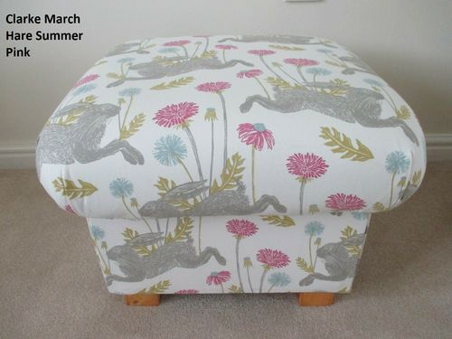 Clarke March Hare Summer Pink Fabric Footstool Pouffe Nursery Hares Animals