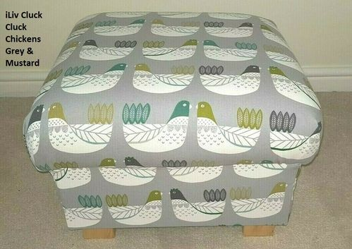 Storage Footstool iLiv Cluck Cluck Chickens Fabric Kiwi Green & Grey Hens Pouffe Footstall